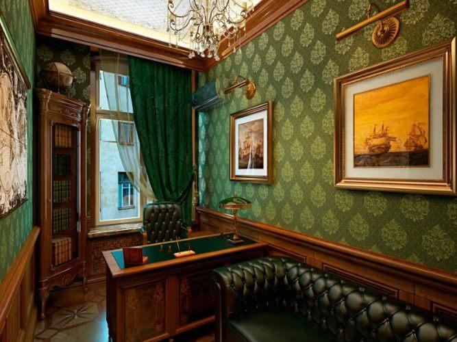 зеленый рабочий кабинет