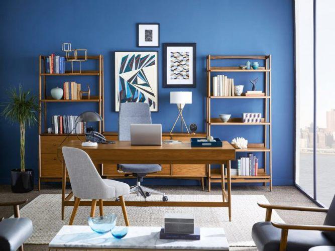 голубой рабочий кабинет